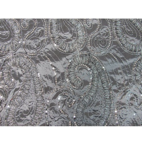 Silver Gray Beaded Embroidered Paisley Silk Taffeta Decorative Fabric-by-Yard