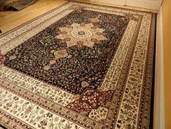 Luxury Navy Persian Silk Rugs Large 8×12 Living Room Rug Dark Blue 8×12 Dining Room Ru ...