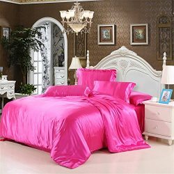 Duvet Cover Set With Flat Sheet Queen Size 4 Piece Silk Like Feeling Great Lightweight Soft Wint ...