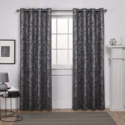Exclusive Home Curtains Watford Distressed Metallic Print Thermal Grommet Top Window Curtain Pan ...