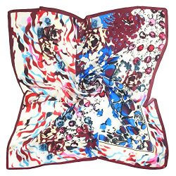 TONY & CANDICE Women's Graphic Print 100% Silk, Silk Scarf Square , 33X33 Inches (Blue ...