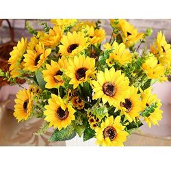 AmyHomie Artificial Sunflower Bouquet, 7 Flowers Per Bunch, 2 Bunches Per Pack