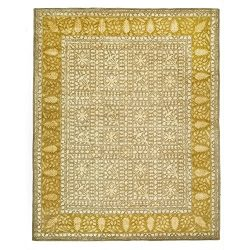 Safavieh Silk Road Collection SKR214A Handmade Beige and Light Gold New Zealand Wool Area Rug (9 ...