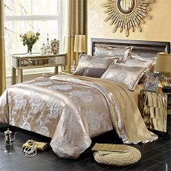 Duvet Cover Set With Aditional Flat Sheet 4 Piece Queen Size Jacquard Satin Solid Color Soft Com ...