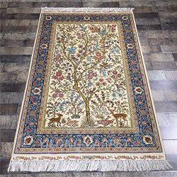 Yilong Carpet 3.3′ x 5′ Handmade Silk Rug Tree of Life Classic Persian Design Hand K ...