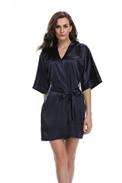Sunnyhu Women's Pure Color Kimono Robe, Short (S, Navy)