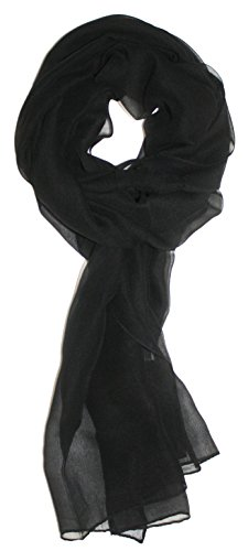 Ted and Jack – Solid Silk Lightweight Accent Scarf in Jet Black