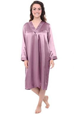 Alexander Del Rossa Womens Satin Nightgown, Full Length Long Sleeved Caftan, XL Wisteria (A0781W ...
