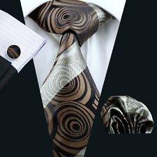 jacob alex #39191 Mens Brown Tie Set Classic Silk Woven Necktie Classic Wedding Party
