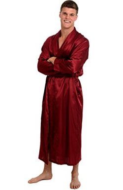 Alexander Del Rossa Mens Satin Robe, Long Lightweight Loungewear, Medium Burgundy (A0720BRGMD)