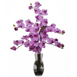 Nearly Natural 1191-MA Phalaenopsis with Vase Silk Flower Arrangement, Mauve
