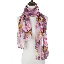 ChikaMika Lightweight Scarves for Women Chiffon Floral Wrap Shawls Fashion Purple Scarves