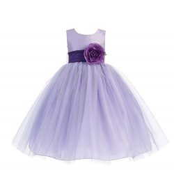 Blossom Poly Silk Bodice & Tulle Skirt Dress with Detachable Flower & Sash (2T, Lilac/Pu ...