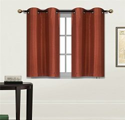 Elegant Home 2 Panels Tiers Grommets Small Window Treatment Curtain Faux Silk Insulated Blackout ...