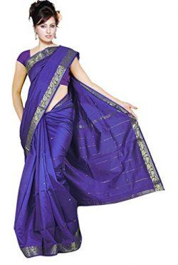 Indian Women's Traditional Art Silk Saree Sari Drape Top Veil fabric Violet