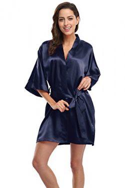 KimonoDeals Women's Soft Elegant Solid Color Kimono Robe-Navy, Short L