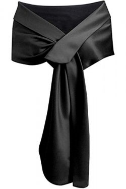 Meet Edge Women's Satin Shawl Wrap For Evening/Wedding Party Black