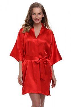 expressbuynow Women's Satin Kimono Robe Short Bridal Robe, Solid Color, Red, XXXL
