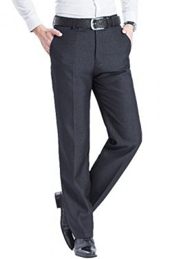Mens Classic Straight Fit Wrinkle-Free Flat Front Blend Mulberry Silk Textured Dress Pant