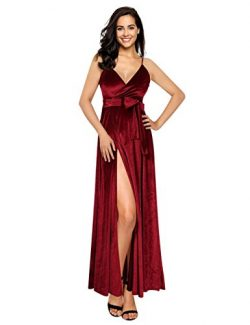 GlorySunshine Women Wrap V-Neck Strap Sleeveless Split Side Evening Dress Long Evening Gown (2XL ...