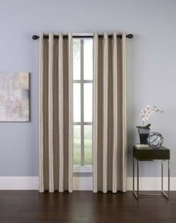 Curtainworks Malta Faux Silk Grommet Curtain Panel, 50 by 120″, Sand