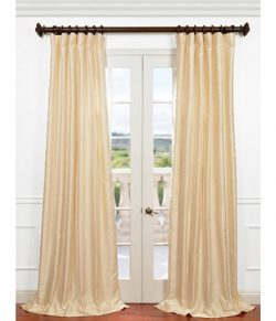 Half Price Drapes PDCH-HANB81-108 Yarn Dyed Faux Dupioni Silk Curtain, Winter Ivory