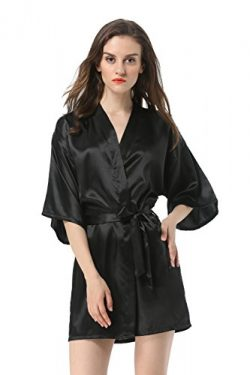Vogue Forefront Women's Satin Plain Short Kimono Robe Bathrobe, Large, Black