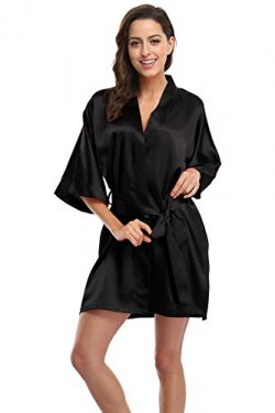 KimonoDeals Women's Soft Elegant Solid Color Kimono Robe-Black, Short M