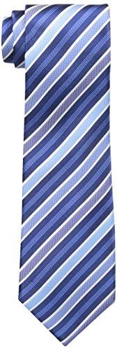 Countess Mara Men's Lockport Stripe 100% Silk Tie, Navy, One Size