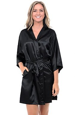 Alexander Del Rossa Womens Satin Robe, Mid-Length Dressing Gown, XL Black (A0747BLKXL)