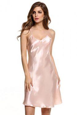 Goodfans Women's Sexy V Neck Spaghetti Strap Silk Slip Dress Pink L