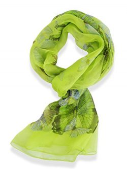 Womens 100% Silk Butterfly Pattern Scarf (Green)