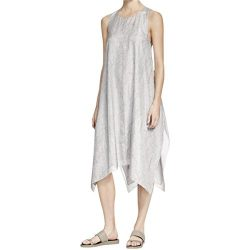 Eileen Fisher Womens Petites Silk Printed Casual Dress Gray PM