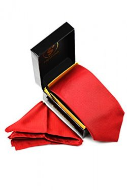 SEXYSANDBOX Scarlet Red Men's Solid Color Silk Tie and Pocket Square 2pc Set in Gift Box