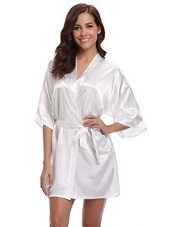 Aibrou Women/'s Kimono Robes Satin Pure Colour Short style with Oblique V-Neck, White, Medium
