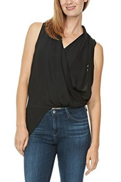 Heather By Bordeaux Silk Side Zip Drape Top (Small, Black)