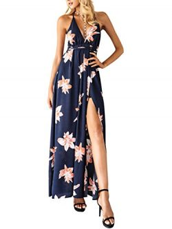 BerryGo Women's Sexy Sleeveless Backless Deep V Neck Split Chiffon Long Party Dress Gown F ...