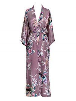 Old Shanghai Women's Kimono Long Robe – Peacock & Blossoms – Mauve (on sea ...