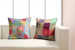 Digitally Printed Vibrant Color,Deco Cushion Cover 18 x18 Inch Set of 2 Reversible,Faux Silk