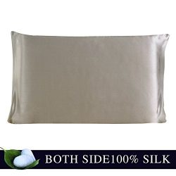JULY SHEEP-Standdard size Pure Silk Pillowcase,Natural 100% Mulberry Silk,19 momme, 600 thread c ...