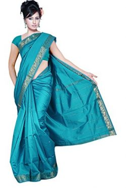 IndianAttire Indian Women's Traditional Art Silk Saree Sari Drape Top Veil Fabric Teal