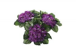 Purple African Violet Artificial Silk Flower Bushes – 3 Individual Silk Bushes
