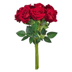BELIVILA Artificial Silk Flowers Red Roses 9 Big Heads for Bouquet Wedding Party Centerpieces Ga ...