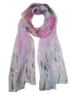 V28 Womens Floral & Graphic Print 100% Silk Great Nature Pattern Scarf (GardenFlowers-Gray)