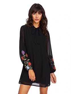 OEUVRE Womens Plain Silk Long Sleeve Floral Embroidered Chiffon Shift Dress with Ribbon Black M