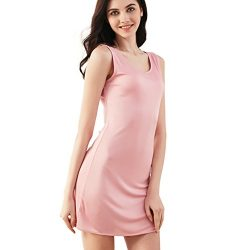 100% Mulberry Silk Cap Sleeve Full Slips Dresses Layering Tee Comfy Slim Fit Camisole Under Dres ...