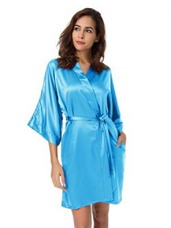 SIORO Satin Robe Silk Kimono Robe Bridesmaid Wedding Bath Robe Ladies Pajamas Short Bathrobe Lou ...