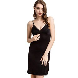 100% Mulberry Silk Long Spaghetti Strap Full Slips Dresses Built-in-Bra Removable Cup Camisole U ...