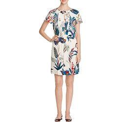 Tory Burch Womens Silk Printed Casual Dress Ivory 2