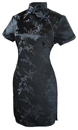 7Fairy Women's Sexy Black Floral Mini Chinese Evening Dress Cheongsam Size 16 US